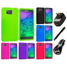 For Samsung Galaxy Alpha Silicone Soft Skin Case Cover Accessory Charger+Stylus