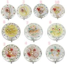Travel Folding Double-sided Compact Makeup Cosmetic Mirror Rhinestone Decor