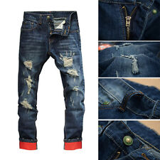 Regular Mens Casual Slim Classic Jeans Straight Ripped Distressed Pants Trousers