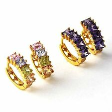 Amazing Multi -color OR purple CZ Yellow Gold Filled Womens Girls Hoop Earrings
