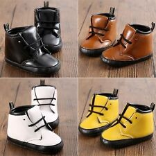 Baby Ankle Boots Boy Girl Infant Crib Leather Lace Up Classic Shoes 0-18 months