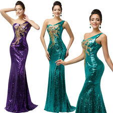 One Shoulder Sequin Mermaid Prom Party Bridesmaid Dress Long Formal Evening Gown