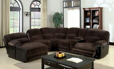Dark Brown Microfiber Transitional Style Sectional Recliner PushBack Chaise Sofa