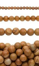 Lot of 50 Round Brown Tigerskin Jasper Natural Genuine Gemstone Beads with Hole