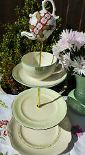 Quirky  Vintage Art Deco cream with  Minton  mad hatter cake stand  mini teapot