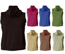 Womens sleeveless ribbed polo neck turtle cowl high neck top UK PLUS size 8-26