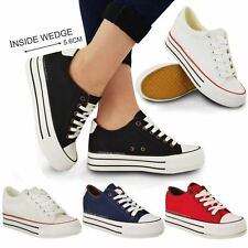 LADIES WOMENS WEDGE HI TOP TRAINERS CANVAS LACE UP SNEAKERS PUMPS SKATERS SIZE