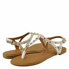 Women's Shoes Bamboo Sacred 23M Studded T-Strap Sandals White *New*