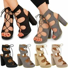 WOMENS LADIES NEW LACE UP BLOCK HIGH HEELS SANDALS ANKLE HI PLATFORMS SHOES SIZE