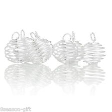 Gift Wholesale Silver Plated Spiral Bead Cages Pendants Findings