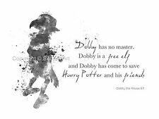 ART PRINT Dobby the House Elf Quote, Harry Potter illustration, Wall Art, B & W