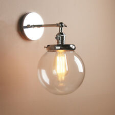 """PERMO 7.5""""GLOBE GLASS SHADE ANTIQUE INDUSTRIAL COPPER BAR SCONCE LAMP WALL LIGHT"""