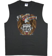 Men's sleeveless t-shirt rt 66 eagle design route 66 sign muscle tee tank top