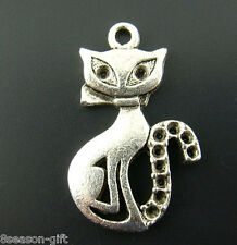 "Gift Wholesale Silver Tone Cats Charms Pendants 25mmx16mm(1 x 5/8"")"