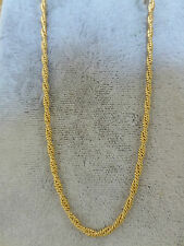"Estate 14k yellow gold fancy twist rope chain necklace 22.2"" 7.4g double strand"