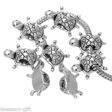 Gift Wholesale Silver Tone Turtle Charms Beads Fit Charm Bracelet 19x13mm