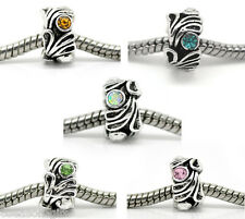 Gift Wholesale Mixed Rhinestone Flower Spacer Beads Fits Charm Bracelet 12x8mm