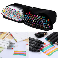 40/60/80 Colors Alcohol Graphic Art Twin Tip Pen Markers Broad Fine Point Set