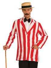 Adult Old Time Striped Jacket Mens Circus Carnival Barber Shop Fancy Dress New