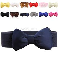 Women Girls Elastic Wide Stretch Buckle Bowknot Bow Dress Waistband Waist Belt