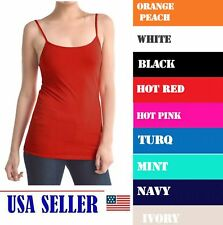 Women's Ladies Solid Poly Cami Camisol Tank Top Wholesale Lot Pack 9 Colors