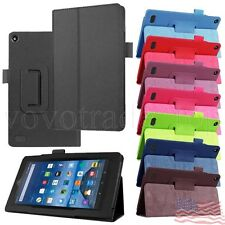 Folding Folio Leather Case Stand Cover For Amazon Kindle Fire HD 7 2015 Tablet