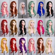 UK Lady Long Layer Wavy Full Hair Wigs Wig Costume Cosplay Party Fancy Dress #73