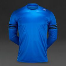 Mens Adidas Response Long Sleeve Tee Running Top Climalite Blue UK Size S NEW