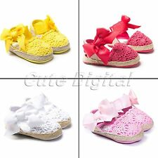Newborn Toddler Baby Girls Princess Bowknot Knitting Sandal Soft Sole Crib Shoes