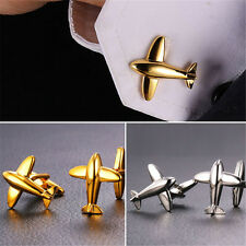 Cool Plane Shaped 18K Gold/Platinum Plated Shirt Cufflinks for Men Gift for Dad