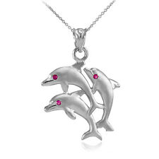 Satin Finish 14k White Gold Triple Jumping Dolphins  CZ Red Eye Pendant Necklace