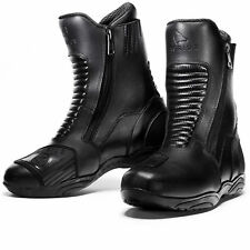 Agrius Echo Motorcycle Boots Motorbike Short Ankle Dual Zip Scooter Bike Leather