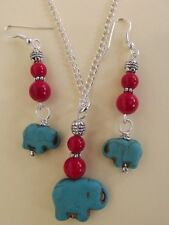 Turquoise Elephant and Coral Necklace and Silver Earring Set  Genuine Gemstones