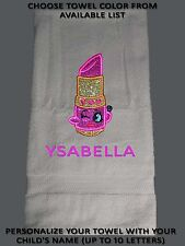 Shopkin Inspired Personalized Embroidery / Applique Bath Towel