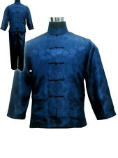 Black blue white Chinese men's style silk kung fu suit SZ: S M L XL
