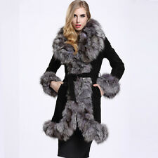Womens 100% Genuine Leather Big Fox Fur Collar Coat Outwear Fashion Jacket C0104