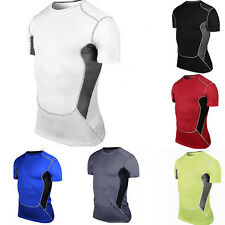 Mens Sports Compression Tee Tight Base Layer Short Sleeve T-Shirt Athletic Tops
