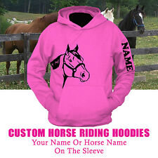 KIDS CHILDREN'S HORSE RIDING PERSONALISED NAME HOODIE (UC503)
