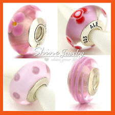 925 SILVER PINK MURANO GLASS EUROPEAN BEADS SPACER CHARMS for BRACELET NECKLACE
