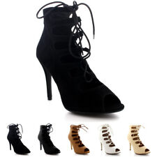 Womens Pumps Lace Up Shoes Peep Toe Party Stilettos Gladiator High Heels UK 3-9
