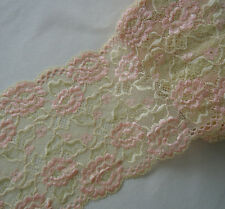 "3 - 4 Yards 6.25"" Wide Lovely Stretch Baby Yellow Lace with Pink Flower 369"