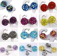 2pc 6mm 8mm Round Czech Crystal Disco Ball Earrings Stainelss Steel Stud Lady