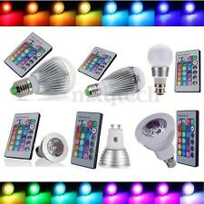 3W/9W/12W RGB E27 E14 B22 MR16 GU10 LED Light Color Changing Lamp Bulb + Remote