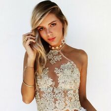 Sexy Halter See Thru Mesh Lace Embroidery Crop Cami Tank Top Blouse Club Party