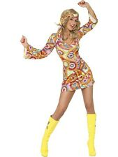 SALE! Adult Sexy 60s 70s Retro Hippy Ladies Fancy Dress Hen Party Costume Outfit