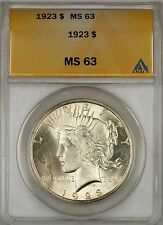1923 Peace Silver Dollar $1 ANACS MS-63 (Better Coin) (10c)