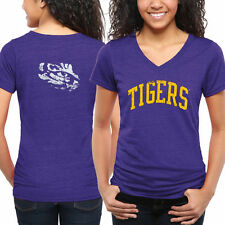 LSU Tigers Women's Purple Slab Serif Tri-Blend V-Neck T-Shirt - College