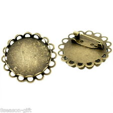Gift Wholesale Round Cabochon Frame Setting Brooches 32mm(Fit 25mm)