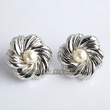 B1-E684 Fashion Rhinestone Flower Pearl Button 18KGP Stud Earrings
