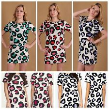 Women Round Neck Leopard Casual CLUB Bar Evening Party Mini Dress Man Approached